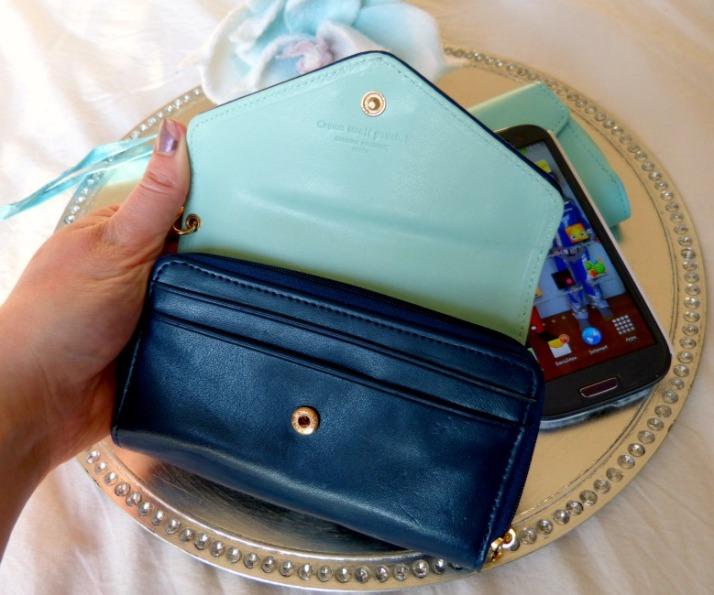 details donkerblauwe telefoon wallet, hoesje, portomonee