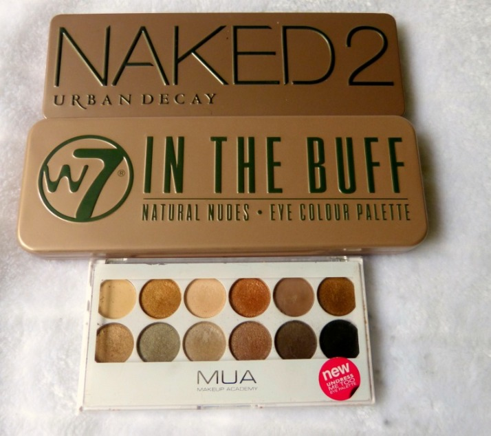 Urban Decay Naked 2, W7 In The Buff en MUA Undress me too