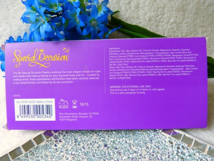 ingrediënten special occasion palette Bh cosmetics