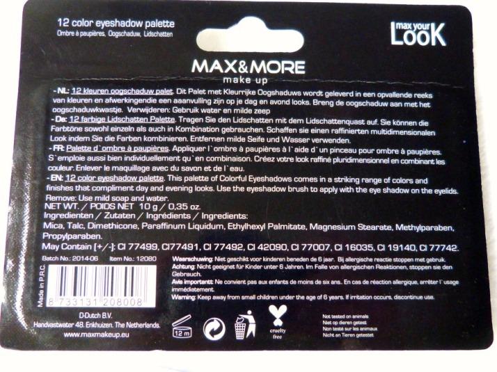 MAX & MORE Palettes achterkant ingrediënten