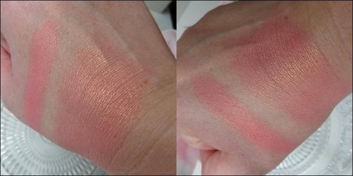 swatches Blush peach Action Dupe Nars Orgasm en Sleek rosegold