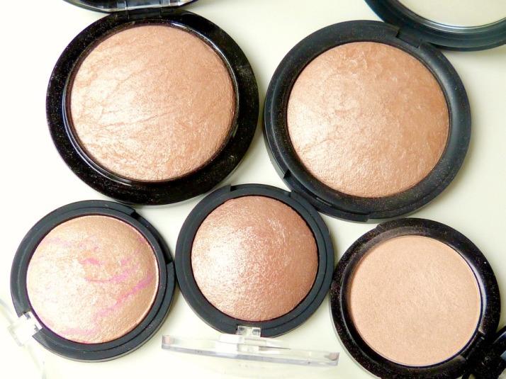 Dupes van MAC Soft & Gentle, Douglas Shimmer powder, eyes lips face Blush gems baked highlighter, elf pinktastic baked blush, H&M Highlighter powder