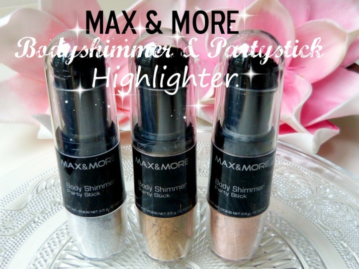 Max & More Body shimmer party stick highlighter Action