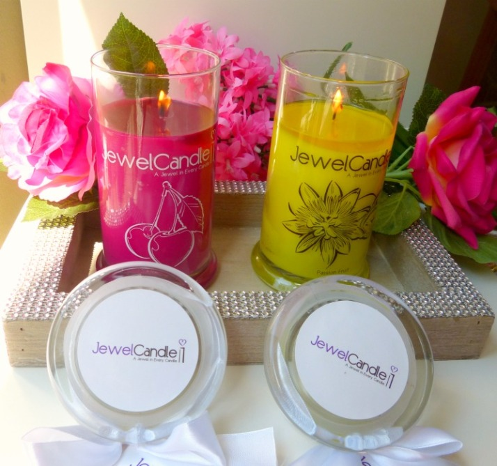 a jewel in every candle pink cherrie en passion fruit jewel candle