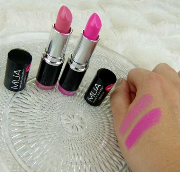 Swatches Lipsticks MUA Tulip and Persian Rose