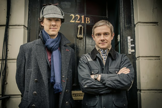 benedict-cumberbatch-and-martin-freeman-as-sherlock-holmes-wearing-deerstalker-and-dr-john-watson-outside-221-b-baker-street-in-bbc-sherlock-season-3