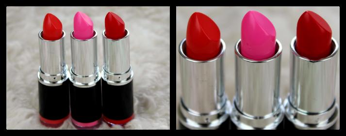 Lippenstiften van MUA in de kleuren 4, 13 en 16