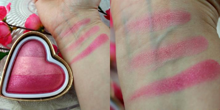 swatches blushing heart blush makeup revolution