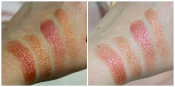 swatches Blushing Hearts Blush Peachy Kean Heart with and without flash