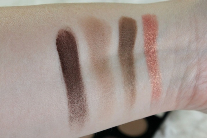 Swatches Embark, Wedge, Charcoal Brown, Expensive Pink MAC