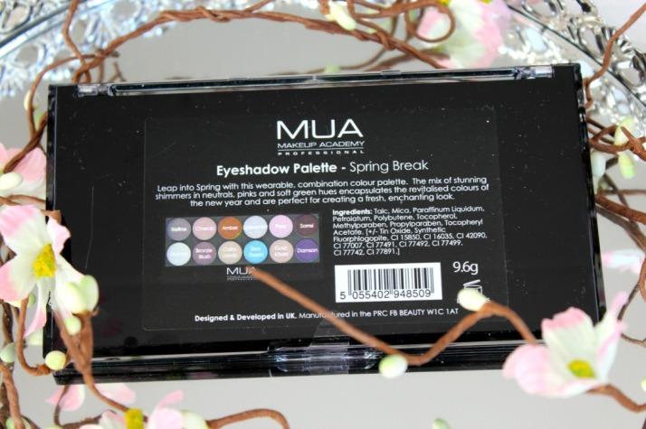 ingrediënten en namen van oogschaduw MUA spring break
